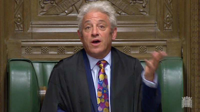 Speaker John Bercow speaks after Britain's parliament voted on whether to hold an early general election, in Parliament in London, Britain, September 10, 2019, in this still image taken from Parliament TV footage. Parliament TV via REUTERS