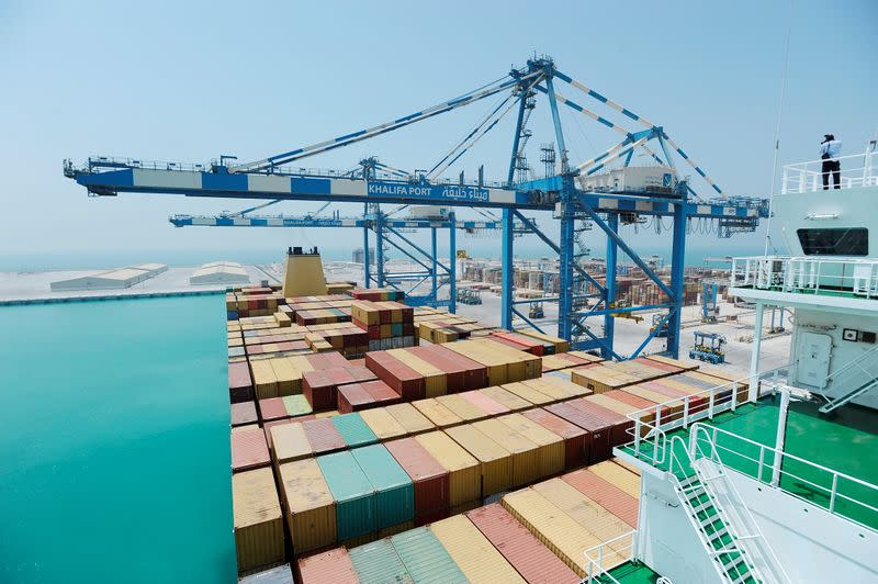 FILE PHOTO: Containers are stacked under cranes at a container terminal in Khalifa Port in Taweelah, Abu Dhabi
