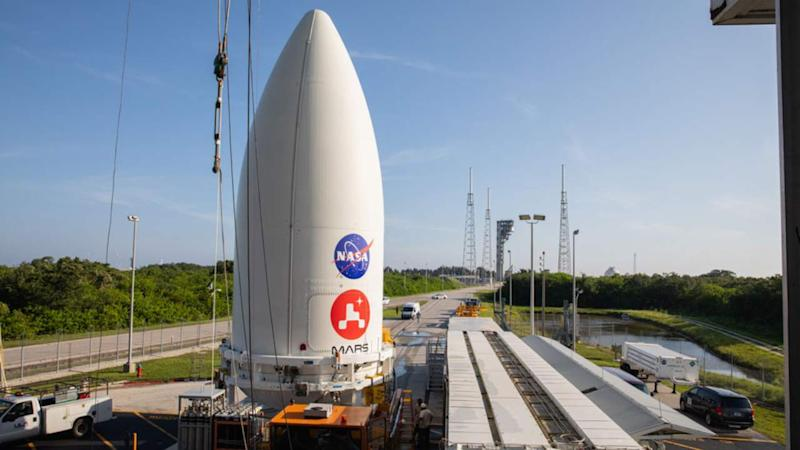 The payload fairing containing the Mars 2020 Perseverance rover at Cape Canaveral Air Force Station in Florida on 7 July 2020. Image: NASA/JPL