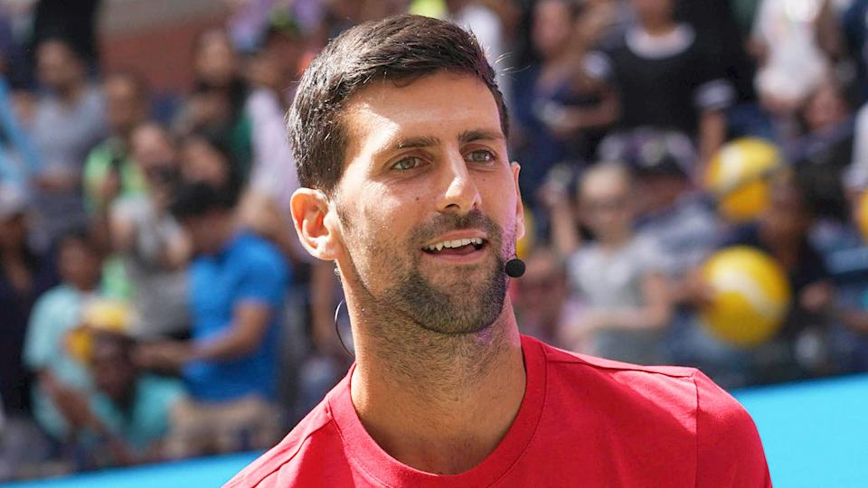 Pictured here, Novak Djokovic is in high spirits after winning the 2021 Australian Open title.