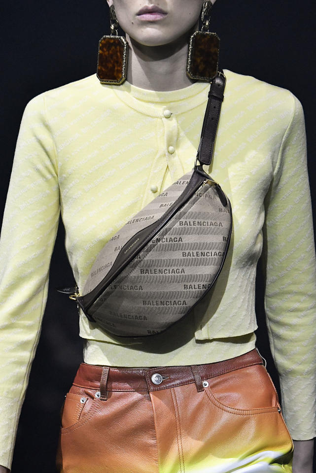 <p><i>Logo fanny pack from the SS18 Balenciaga collection. (Photo: Getty) </i></p>