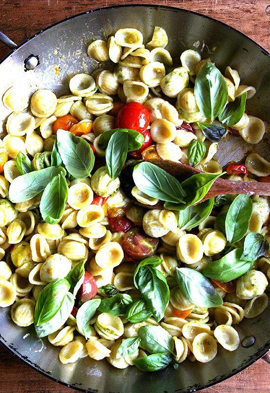 """<strong>Get the <a href=""""http://www.alexandracooks.com/2010/07/18/a-super-summery-pasta/"""" rel=""""nofollow noopener"""" target=""""_blank"""" data-ylk=""""slk:Orecchiette with Cherry Tomatoes, Mozzarella and Basil Pesto recipe"""" class=""""link rapid-noclick-resp"""">Orecchiette with Cherry Tomatoes, Mozzarella and Basil Pesto recipe</a>&nbsp;from Alexandra's Kitchen</strong>"""
