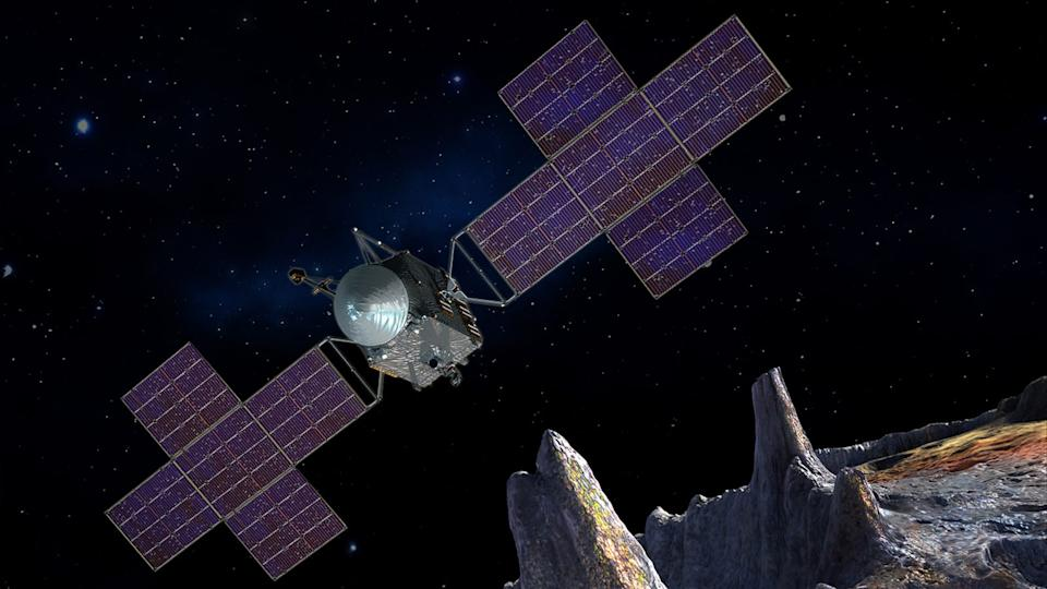 This artist's concept, updated as of June 2020, depicts NASA's Psyche spacecraft. Set to launch in August 2022, the Psyche mission will explore a metal-rich asteroid of the same name that lies in the main asteroid belt between Mars and Jupiter. The spacecraft will arrive in early 2026 and orbit the asteroid for nearly two years to investigate its composition.