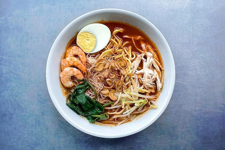 A bowl of flavourful Penang prawn mee made with Trupaste soup paste.