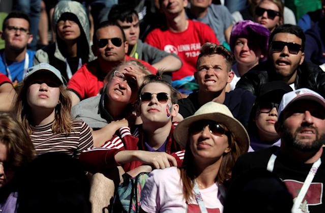 Soccer Football - World Cup - Group B - Portugal vs Morocco - Saint Petersburg, Russia - June 20, 2018. Fans are pictured during the the Portugal vs Morocco match at Saint Petersburg Fan Fest. REUTERS/Henry Romero