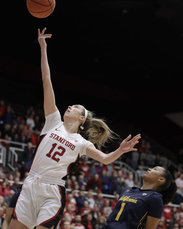 Stanford Cardinal guard Lexie Hull, left, lays up a shot past California's Leilani McIntosh (1) during the first half of an NCAA college basketball game Friday, Jan. 10, 2020, in Stanford, Calif. (AP Photo/Ben Margot)