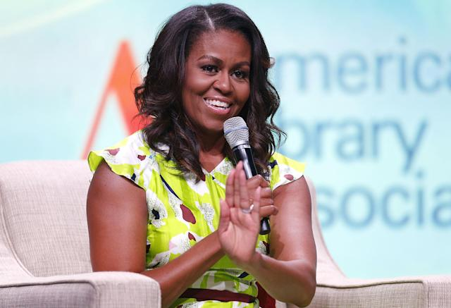 Michelle Obama shared funny family anecdotes at the American Library Association conference in New Orleans. (Photo: Getty Images)