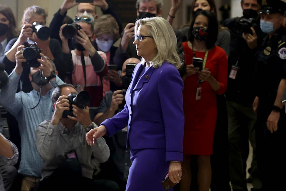 U.S. Representative Liz Cheney (R-WY) arrives to speak to reporters after her removal as chair of the House Republican Conference on Capitol Hill in Washington on May 12, 2021. (Jonathan Ernst/Reuters)