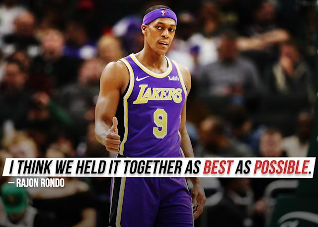 """Rajon Rondo <a href=""""https://sports.yahoo.com/rajon-rondo-talks-lakers-season-i-think-we-held-it-together-as-best-as-possible-235225438.html"""" data-ylk=""""slk:explains his perspective;outcm:mb_qualified_link;_E:mb_qualified_link;ct:story;g:undefined;"""" class=""""link rapid-noclick-resp yahoo-link"""">explains his perspective</a> on the past season with the Los Angeles Lakers."""