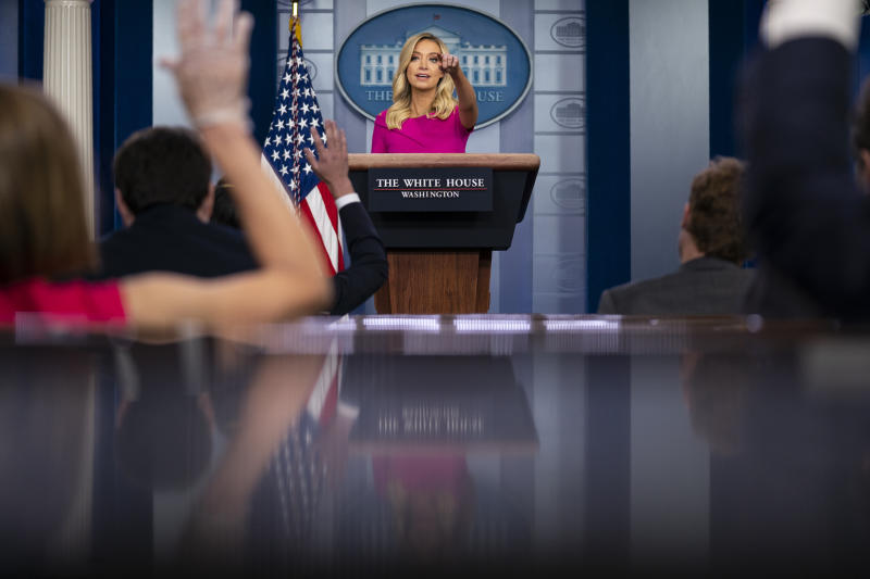 White House press secretary Kayleigh McEnany speaks during a press briefing at the White House, Monday, June 22, 2020, in Washington. (AP Photo/Evan Vucci)