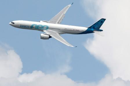 An Airbus A330 NEO performs at the 53rd International Paris Air Show at Le Bourget Airport near Paris