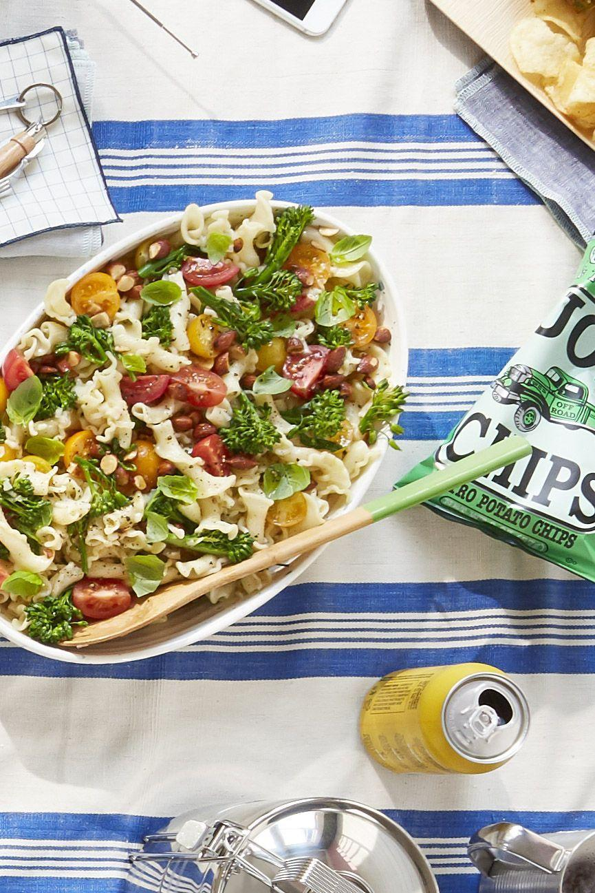 """<p>Smoked almonds give this traditional pasta salad a little extra crunch.</p><p><strong><a href=""""https://www.countryliving.com/food-drinks/recipes/a42461/broccolini-pasta-salad-recipe/"""" rel=""""nofollow noopener"""" target=""""_blank"""" data-ylk=""""slk:Get the recipe"""" class=""""link rapid-noclick-resp"""">Get the recipe</a>.</strong> </p>"""