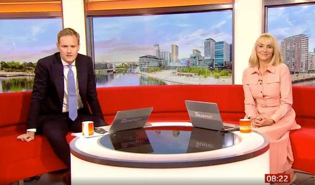 Dan Walker and Louise Minchin watched the incident play out live on air (Photo: BBC)