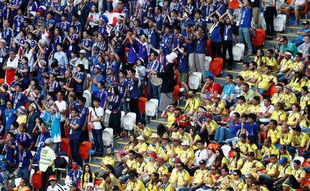 Soccer Football - World Cup - Group H - Colombia vs Japan - Mordovia Arena, Saransk, Russia - June 19, 2018 Fans during the match REUTERS/Damir Sagolj