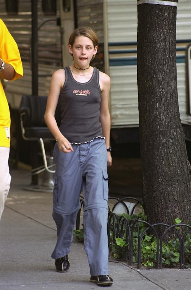 <p>Tomboy 9-year-old Kristen Stewart takes a walk on Central Park West while fiilming her break-out role in <em>The Panic Room</em> in 2000. (Photo: Getty Images) </p>