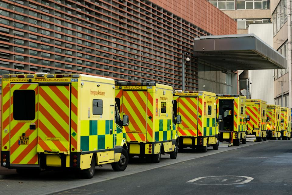 Ambulances parked outside the The Royal London Hospital emergency department in London, Britain, 30 December 2020. NHS England figures show England's hospitals now have more Covid-19 patients than during April's first-wave peak. Britain's Prime Minister Boris Johnson refused to rule out a third national lockdown in the New Year. (Photo by Maciek Musialek/NurPhoto via Getty Images)