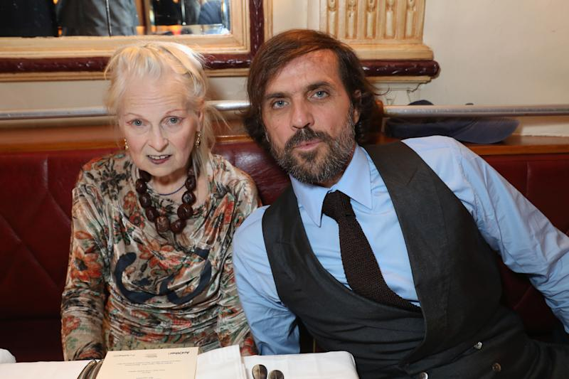 Andreas Kronthaler and Vivienne Westwood attend a dinner in Paris on Sept. 30.  (Darren Gerrish via Getty Images)