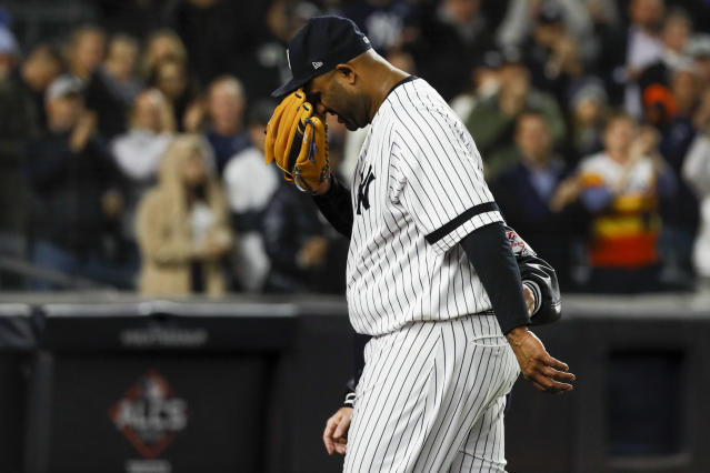 New York Yankees pitcher CC Sabathia may have thrown the last pitch of his likely Hall of Fame career. (AP Photo/Matt Slocum)