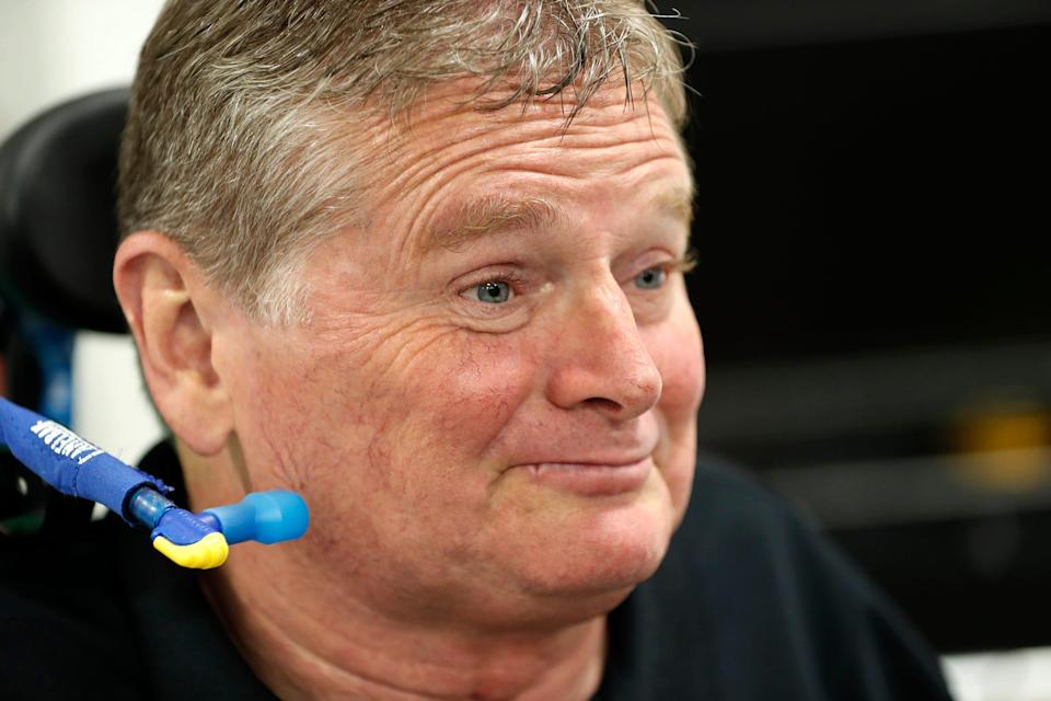 Former IndyCar driver and current team owner Sam Schmidt talks about his recovery at Arrow McLaren SP in Indianapolis on June 17, 2021.