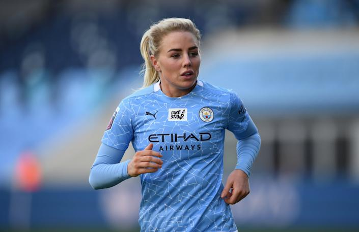 <p>Alex Greenwood is confident City can keep pace with Chelsea in the title race</p> (Getty)