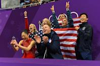 <p>USA's Mirai Nagasu (front L) reacts after competing in the figure skating team event women's single skating free skating during the Pyeongchang 2018 Winter Olympic Games at the Gangneung Ice Arena in Gangneung on February 12, 2018. / AFP PHOTO / Roberto SCHMIDT </p>