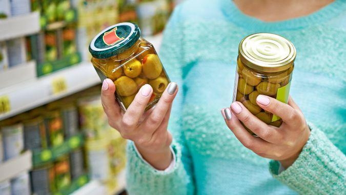 comparison, grocery store, olives