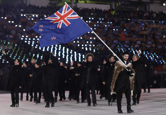 <p>Beau-James Wells carries the flag of New Zealand during the opening ceremony of the 2018 Winter Olympics in Pyeongchang, South Korea, Friday, Feb. 9, 2018. (AP Photo/Petr David Josek) </p>