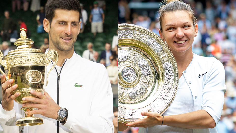 Novak Djokovic and Simona Halep won their Wimbledon finals in wildly contrasting fashion. Image: Getty