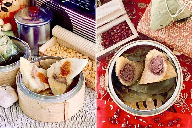 Cantonese rice dumpling pair mung beans with salted egg yolks (left) while a 'kee chang' or alkaline water rice dumpling is filled with sweet red beans (right)