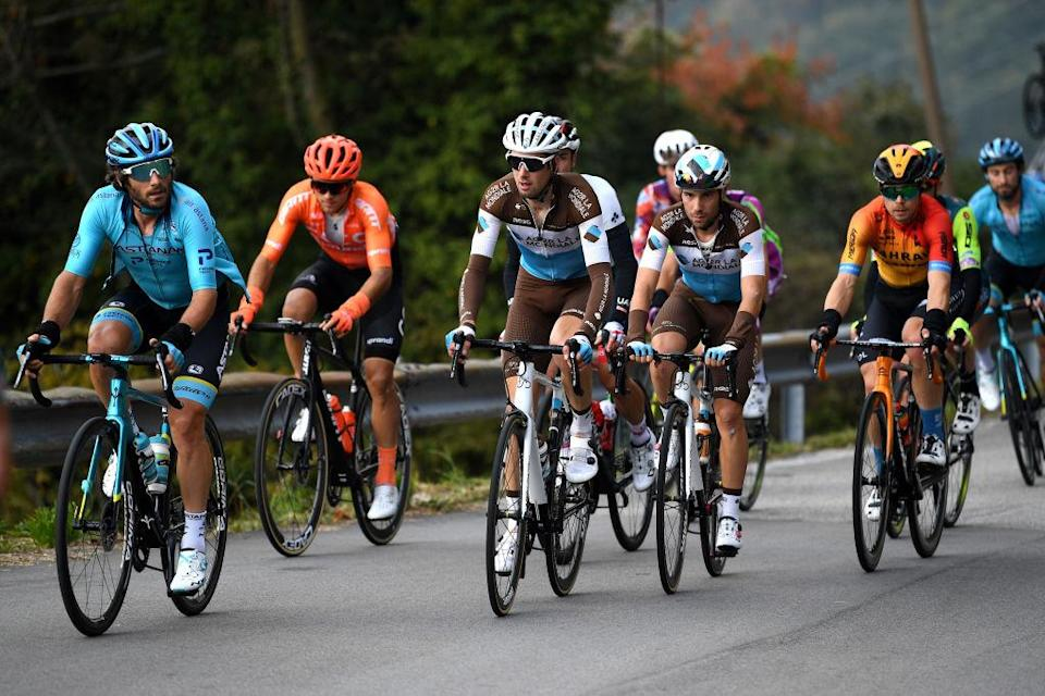 SAN DANIELE DEL FRIULI ITALY  OCTOBER 20 Manuele Boaro of Italy and Astana Pro Team  Francois Bidard of France and Team Ag2R La Mondiale  Andrea Vendrame of Italy and Team Ag2R La Mondiale  Breakaway  during the 103rd Giro dItalia 2020 Stage 16 a 229km stage from Udine to San Daniele Del Friuli 249m girodiitalia  Giro  on October 20 2020 in San Daniele Del Friuli Italy Photo by Tim de WaeleGetty Images