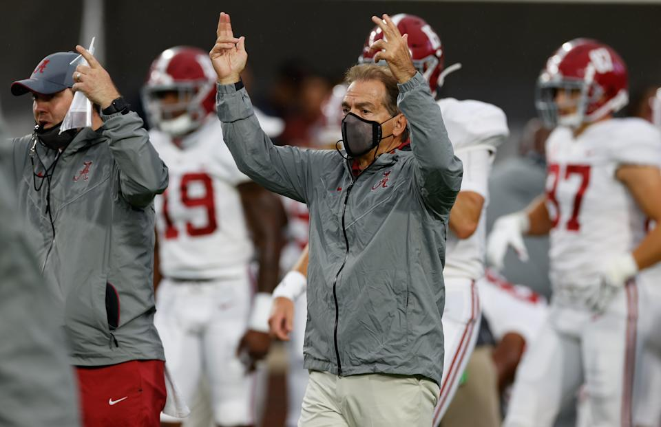 Alabama coach Nick Saban signals a touchdown against the Ole Miss Rebels on Oct. 10, 2020. (Kent Gidley/Collegiate Images/Getty Images)
