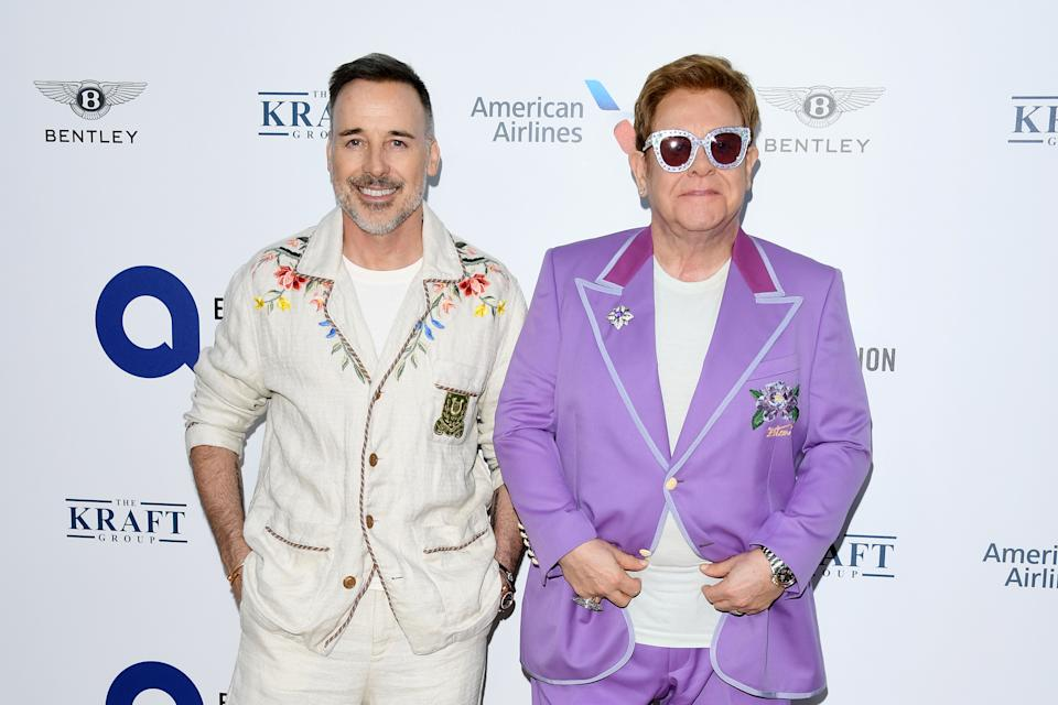 """ANTIBES, FRANCE - JULY 24: Sir Elton John and David Furnish attend the first """"Midsummer Party"""" hosted by Elton John and David Furnish to raise funds for the Elton John Aids Foundation on July 24, 2019 in Antibes, France. (Photo by Daniele Venturelli/Daniele Venturelli/Getty Images )"""
