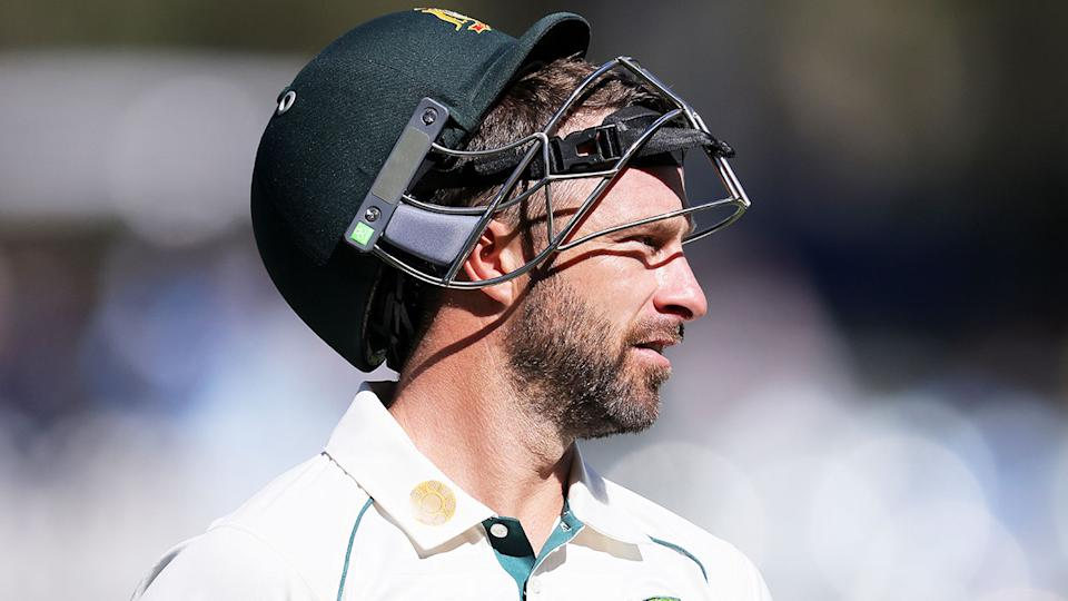 Pictured here, Aussie Test batsman Matthew Wade looks frustrated after getting out against India.