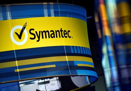 FILE PHOTO - The Symantec booth is seen during the 2016 Black Hat cyber-security conference in Las Vegas