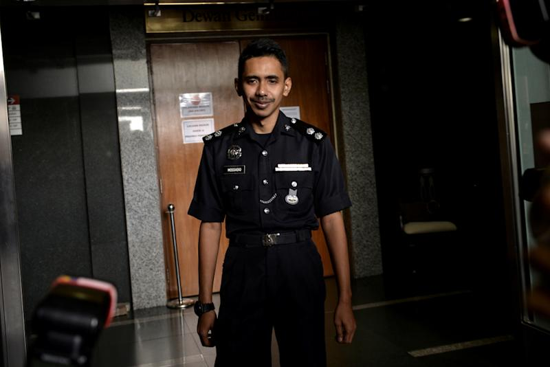 Witness Mohd Mossadique Azni appears before the Wang Kelian Royal Commission of Inquiry (RCI) in Putrajaya April 17, 2019. — Picture by Miera Zulyana