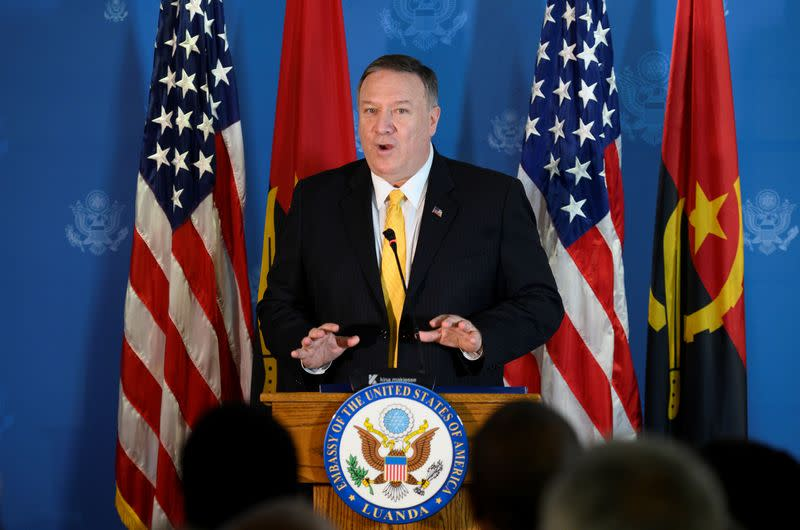 U.S. Secretary of State Mike Pompeo speaks at a business leaders reception at the Museu de Moeda in Luanda