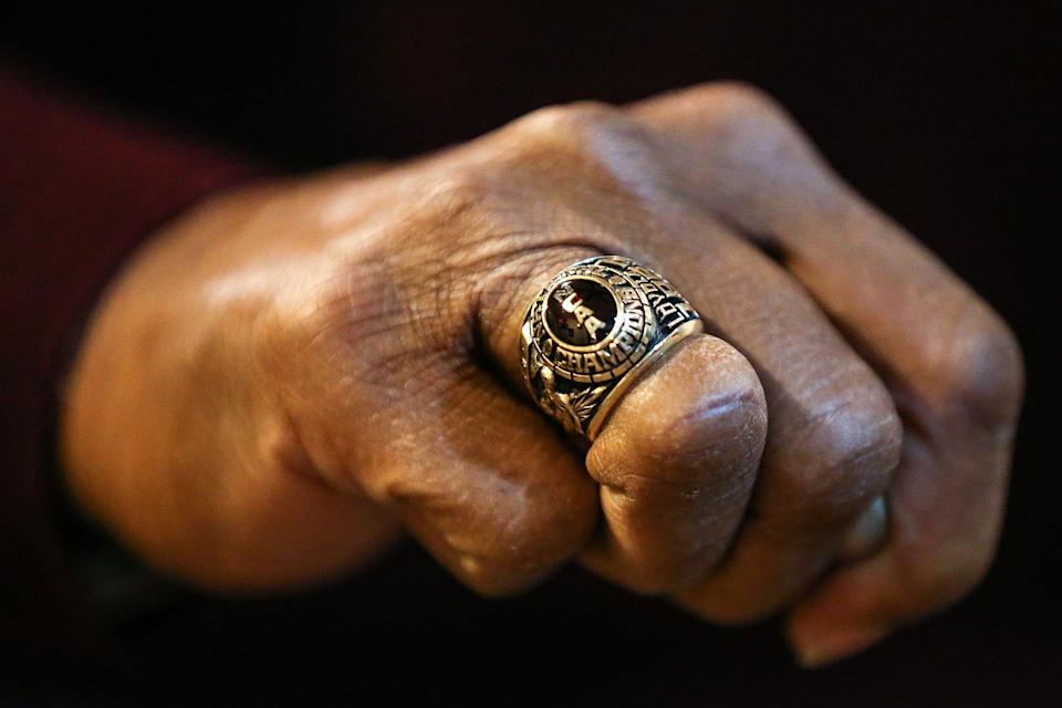 Jerry Harkness showed off his 1963 Loyola national basketball title ring at his home in Lawrence on March 28, 2018.  Jenna Watson/IndyStar.