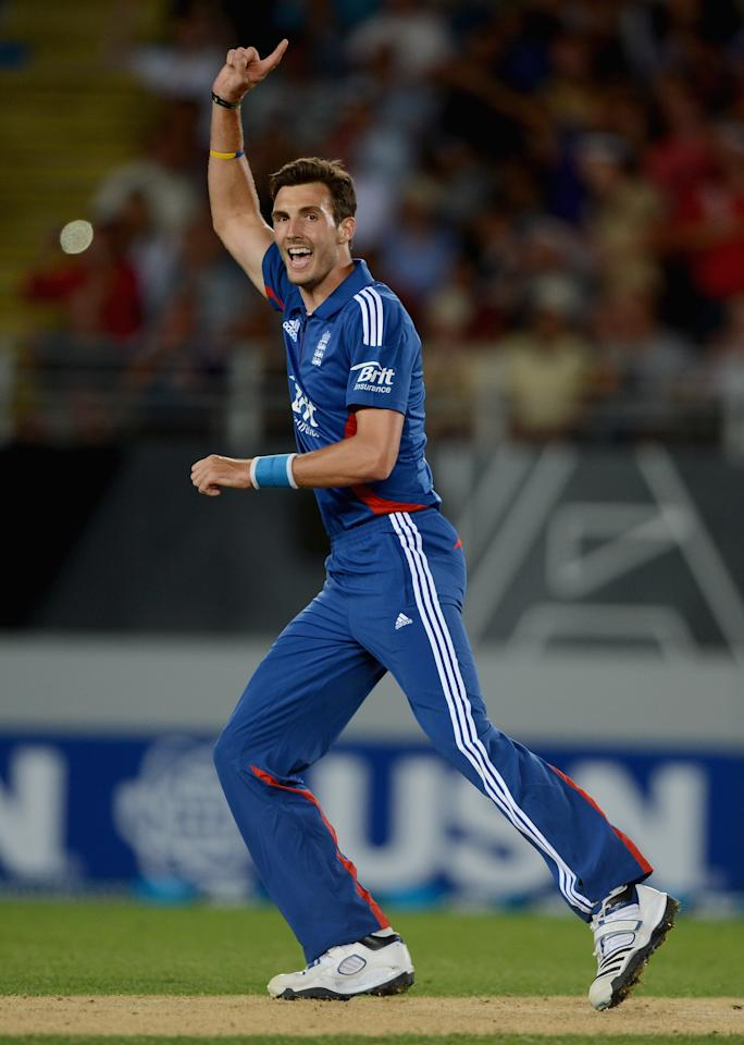 AUCKLAND, NEW ZEALAND - FEBRUARY 09:  Steven Finn of England celebrates dismissing Brendon McCullum of New Zealand during the 1st T20 International between New Zealand and England at Eden Park on February 9, 2013 in Auckland, New Zealand.  (Photo by Gareth Copley/Getty Images)