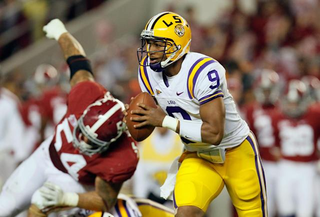 TUSCALOOSA, AL - NOVEMBER 05: Jordan Jefferson #9 of the LSU Tigers runs with the ball during the game against the LSU Tigers at Bryant-Denny Stadium on November 5, 2011 in Tuscaloosa, Alabama. (Photo by Kevin C. Cox/Getty Images)