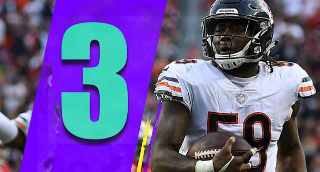 <p>In a weird way, a loss at the 49ers might not have been the worst thing. The Bears won, and a first-round bye is still on the table, though Chicago needs an unlikely Rams loss to the 49ers. The Bears almost have to play it straight, just in case. (Danny Trevathan) </p>