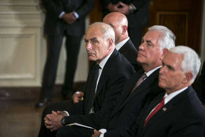 From left: Then-Chief of Staff John Kelly, then-Secretary of State Rex Tillerson and Vice President Mike Pence at the White House on Aug. 28, 2017. (Al Drago/The New York Times)