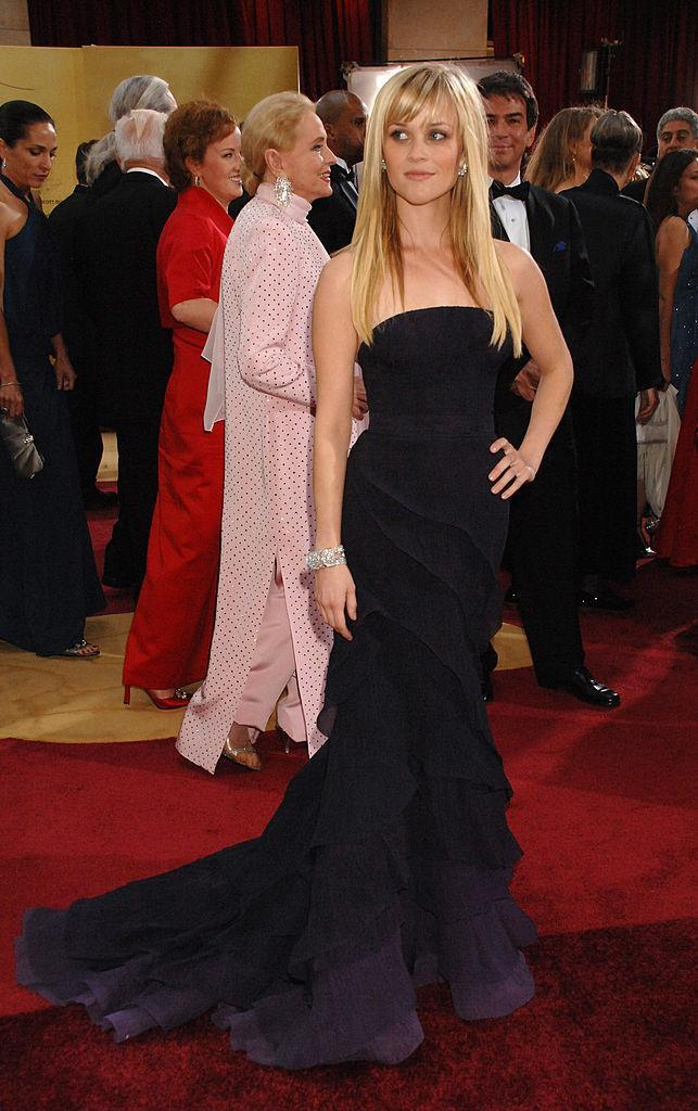 <p>Not so basic black — it's actually dark blue — for Reese Witherpoon, in Nina Ricci. (Photo: Getty Images) </p>