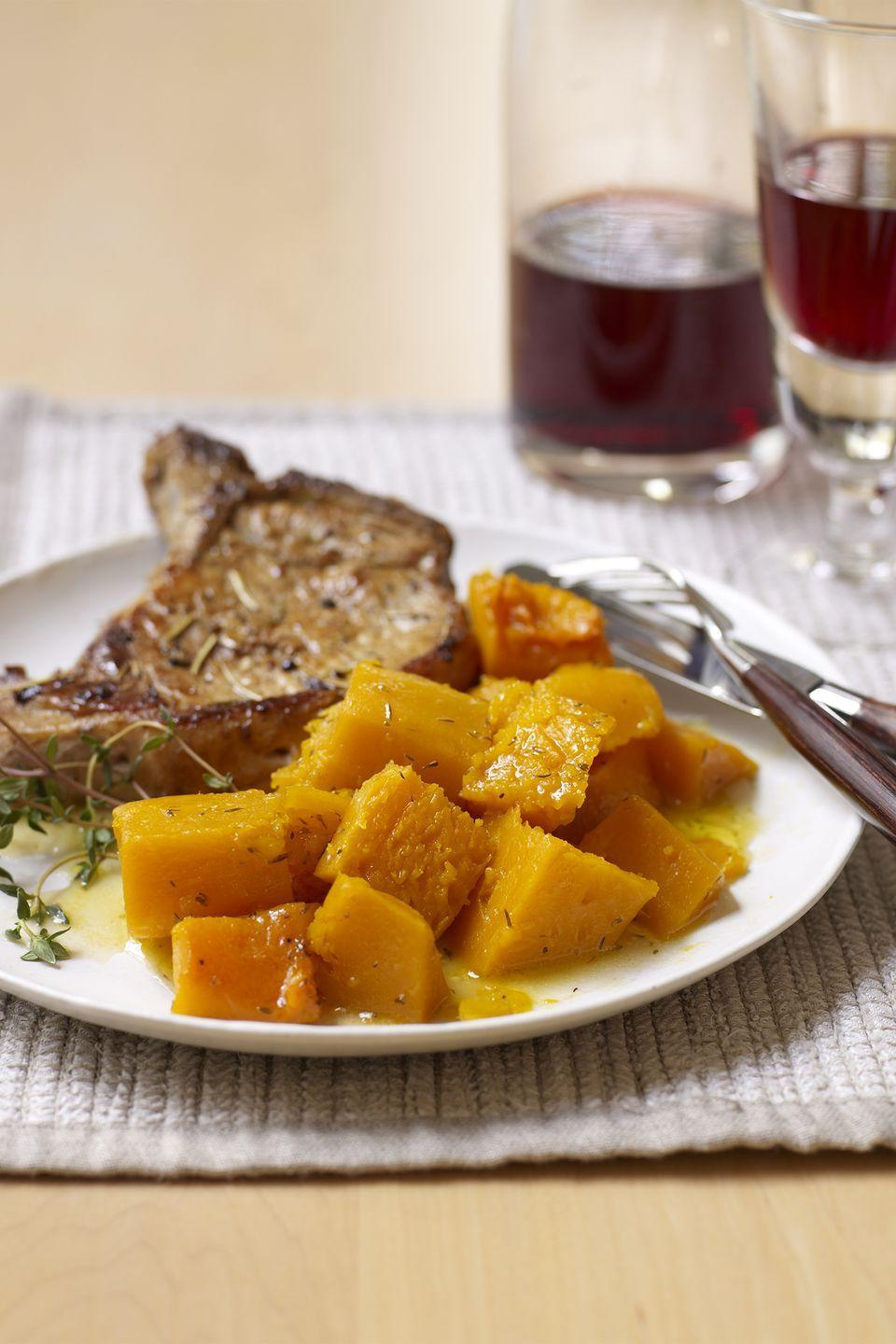 """<p>Anjou pears add a sweetness to this savory lager-beer braised pork chop dinner. </p><p><strong><a href=""""https://www.countryliving.com/food-drinks/recipes/a3010/beer-braised-pork-chops-recipe/"""" rel=""""nofollow noopener"""" target=""""_blank"""" data-ylk=""""slk:Get the recipe"""" class=""""link rapid-noclick-resp"""">Get the recipe</a>.</strong></p>"""