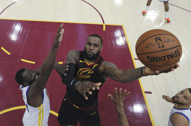 "<a class=""link rapid-noclick-resp"" href=""/nba/players/3704/"" data-ylk=""slk:LeBron James"">LeBron James</a> (Gregory Shamus via AP)"
