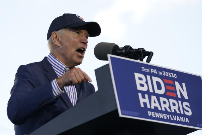 Democratic presidential candidate former Vice President Joe Biden speaks at a campaign event at Dallas High School in Dallas, Pa., Saturday, Oct. 24, 2020. (AP Photo/Andrew Harnik)