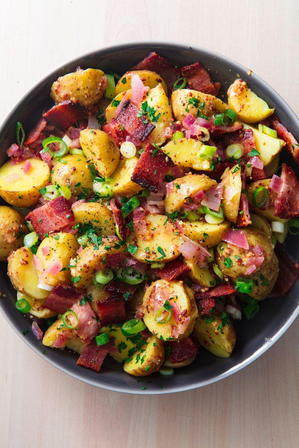 "<p>***Must love bacon.</p><p>Get the recipe from <a href=""https://www.delish.com/cooking/recipe-ideas/a19637562/hot-german-potato-salad-recipe/"" rel=""nofollow noopener"" target=""_blank"" data-ylk=""slk:Delish"" class=""link rapid-noclick-resp"">Delish</a>.</p>"