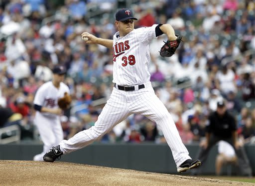 Minnesota Twins pitcher P.J. Walters throws against the Kansas City Royals in the first inning of a baseball game Friday, June 28, 2013, in Minneapolis. (AP Photo/Jim Mone)