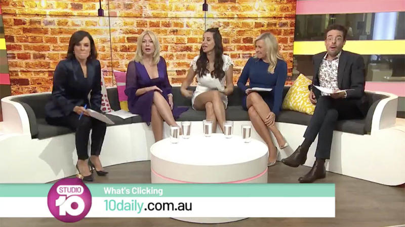 Pannelists Natarsha Belling, Kerri-Anne Kennerley, Antoinette Lattouf, Angela Bishop and Joe Hildebrand visibly gobsmacked on Studio 10