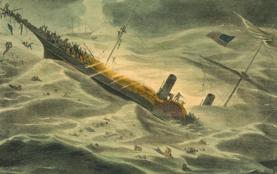 A depiction of the sinking
