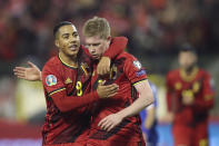 Belgium's Kevin De Bruyne celebrates with Belgium's Youri Tielemans, left, after scoring his side's third goal during the Euro 2020 group I qualifying soccer match between Belgium and Cyprus at the King Baudouin stadium in Brussels, Tuesday, Nov. 19, 2019. (AP Photo/Francisco Seco)